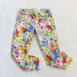 Aeropostale Floral Skinny Jeans Lola Cropped Leg